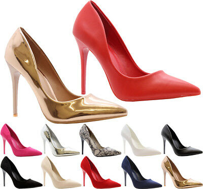 Ladies Womens High Stiletto Heel Pumps Work Smart Party Pointed Court Shoes Size • 17.95£