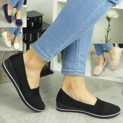 Womens Slip On Shoes Ladies Low Wedge Pumps Comfy Casual Loafers Trainers Size • 11.99£