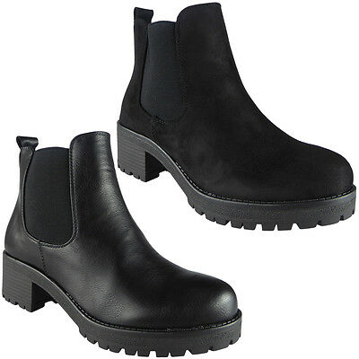 Womens Chelsea Boots Ladies Chunky Mid Heel Platform Zip Work Ankle Shoes Size • 14.99£