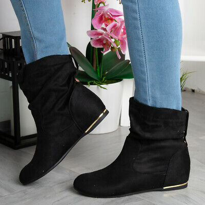 Womens Wedge Boots Ladies Hidden Faux Suede Slouch Low Heel Ankle Shoes Size • 19.99£