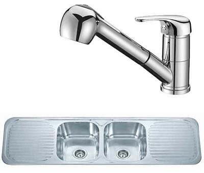 Polished Two Bowl Double Drainer Stainless Sink & Pull Out Mixer Tap (KST096) • 304.96£