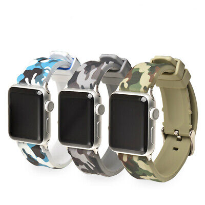 $ CDN14.45 • Buy 38/42mm 40/44mm Camo Silicone Bands Strap WristBand For Apple Watch Series 4321