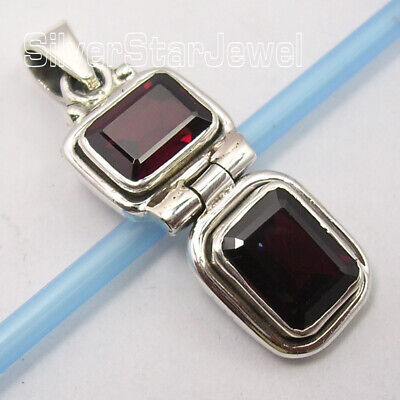 Natural Garnet Pendant 925 Solid Silver Gemstone Handcrafted Jewelry • 11.58£