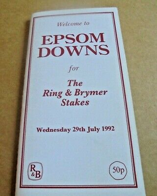 £2.25 • Buy Epsom Race Card July 29th, 1992 - The Ring & Brymer Stakes