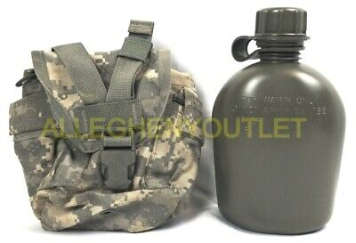 $ CDN19.30 • Buy 2 Piece Set US Military 1 Quart OD Canteen W/ 1 QT MOLLE ACU Cover VGC / EXC