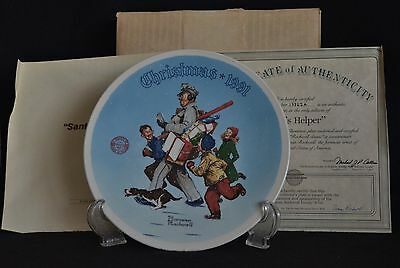 $ CDN9.32 • Buy Norman Rockwell 1991 Collector Plate   Santa's Helper   Nib W/coa