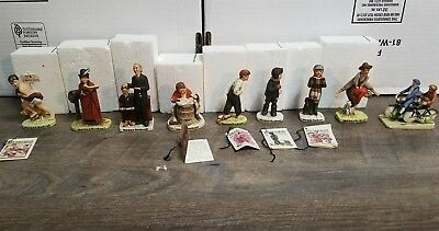 $ CDN88.12 • Buy Lot Of 9 Vintage Norman Rockwell  Figurines Love Letter  Leap Frog Bicycle Boys