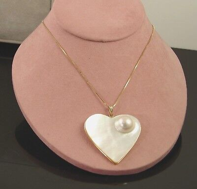 $549.95 • Buy Cultured Blister Mabe Heart Pearl Pendant 14K Gold W/ 14K 18  Box Chain NWOT