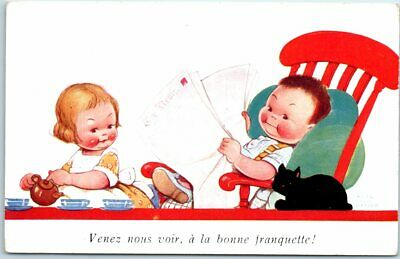 Vintage Mabel Lucie ATWELL Artist-Signed Postcard In French  Come See Us  • 2.93£