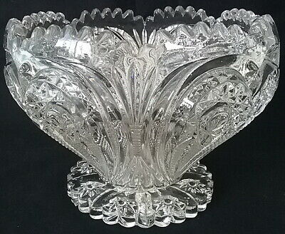 $69.95 • Buy Imperial Glass EAPG Footed Punch Bowl Zippered Heart #292 Scalloped Rim C.1909