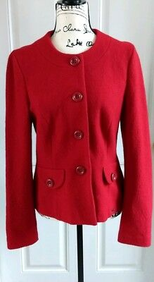 $44.61 • Buy Geiger Austria Red Pure Wool Button Down Fitted Jacket Cardigan Size 40 10-12
