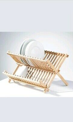 £11.99 • Buy Bamboo Foldable Kitchen Sink Dish Drainer Folding Wooden Plate Cups Drying Rack