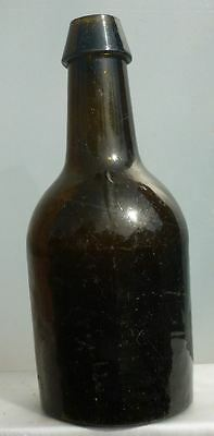 $100 • Buy SQUAT BLACK GLASS ALE BOTTLE-Wedge Top-Three Piece Mold-Sticky Pontil-1840s