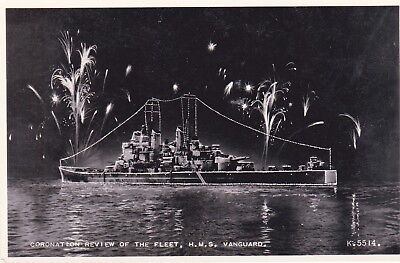 £4.95 • Buy Royal Navy Postcard HMS VANGUARD Coronation Review Of The Fleet By Valentines