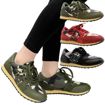 Ladies Women Platform Chunky Camouflage Stud Sneaker Running Trainers Shoes Size • 9.95£