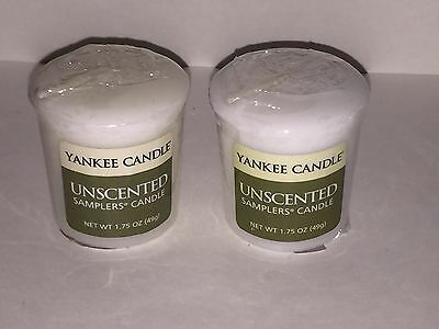 YANKEE CANDLE Set Of 2 Unscented Sampler Votive Candle White New Wrapped • 3.39£