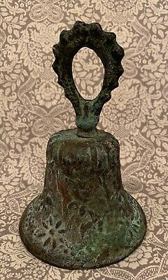 """Primitive Brass Copper Ornate 5"""" X 3.5"""" Ringing Bell With Clapper • 9.50$"""