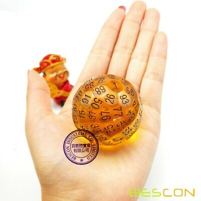 AU17.81 • Buy Bescon Translucent Polyhedral RPG Game Dice 100 Sides Dice Amber D100