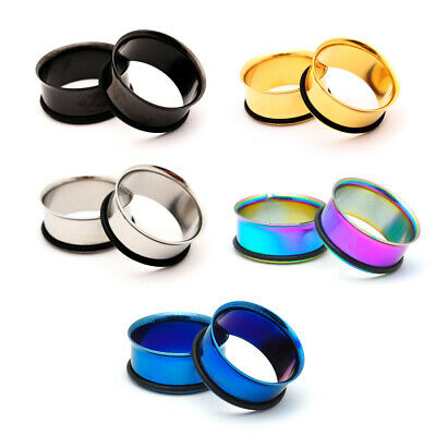 $7.49 • Buy Pair Of Steel Single Flare Tunnels Plugs Gauges Choose Size Color