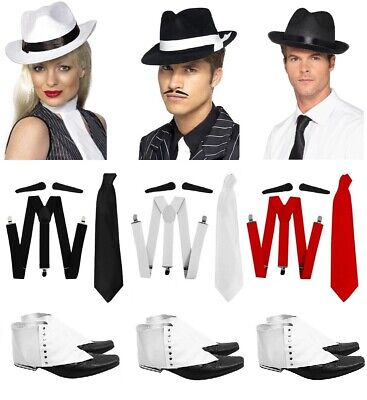 AU12.46 • Buy Gangster Hat Braces Tie Spats Spiv Tash 1920s Fancy Dress Costume Set Trilby Hat