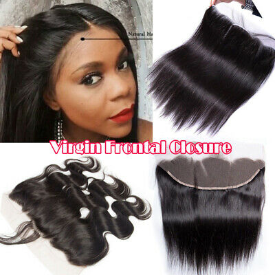 Pre Plucked Brazilian 8A Real Virgin Human Hair Weave 13*4 Frontal Lace Closures • 21.55£