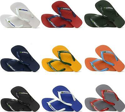 Havaianas HAV BRASIL LOGO Mens Slip On Summer Pool Rubber Toe Post Flip Flops • 19.18£