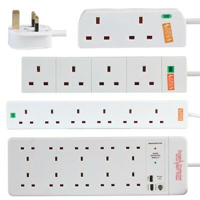 Surge Protected Mains Extension Lead 13A UK Power Cable Electric Plug Socket • 9.99£