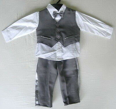 £15.99 • Buy BABY BOY Clothing OUTFIT Dark Grey Special Occasion Suit Wedding Christening