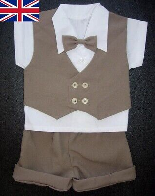 £14.99 • Buy BABY BOY OUTFIT Brown Special Occasion Suit Wedding Clothing Boys Formal Wear