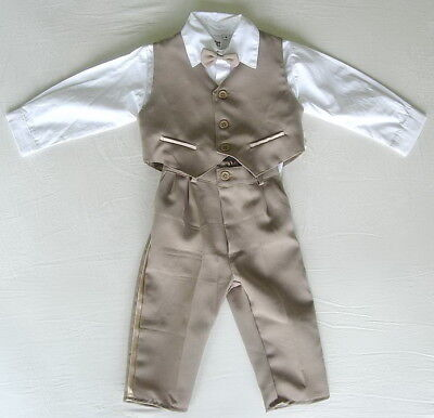 £15.99 • Buy BABY BOY OUTFIT Brown Special Occasion Suit Set Wedding Christening Formal Wear