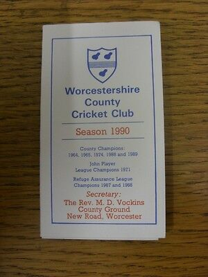 1990 Fixture List: Worcestershire County Cricket Club - Fold Out Card. Any Fault • 2.99£