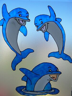 Dolphins Bathroom Nursery Window Paint Picture Decoration Cling  • 4.45£