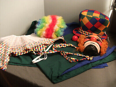 $ CDN13.22 • Buy 7 PCS CLOWN OUTFIT - HAT, WIG, MASK, COLLAR, 2 PC FULL OUTFIT & NOSE - Lco