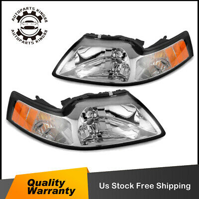 $63.01 • Buy Pair Chrome Headlights For 99-04 Ford Mustang W/ Amber Corner Turn Signal Lamp