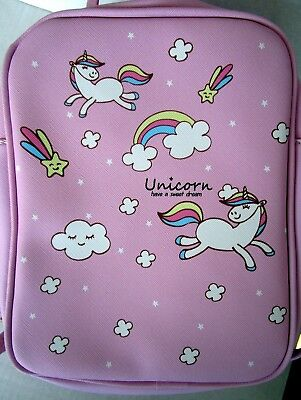 AU24.95 • Buy Unicorn Patterned Pink Backpack With 2 Inside Pockets Straps & Carry Handle! Bn