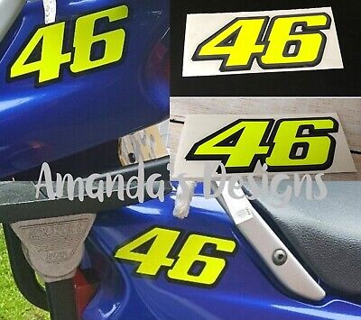 VALENTINO ROSSI 46 Fluorescent/Neon Yellow Vinyl Decal Stickers X 2 • 3.50£