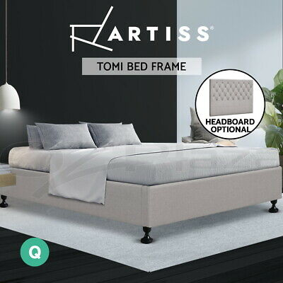 AU169 • Buy Artiss Bed Frame Queen Size Bed Base Mattress Platform Fabric Wooden BeigeTOMI