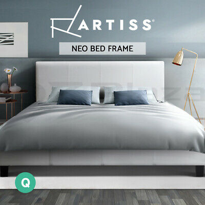 AU142.95 • Buy Bed Frame Queen Size Base Mattress Platform Full Size Leather Wooden White NEO