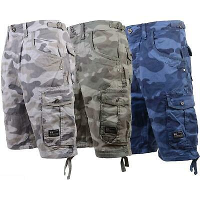 Mens S&J By Crosshatch Chinos Camo Cargo Shorts Jeans Combat 3/4 Knee Length • 14.99£