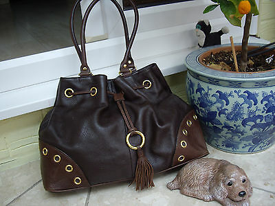 Viyella Brown Leather Handbag Viyella Grained Nappa Leather Tassled Shoulder Bag • 25£