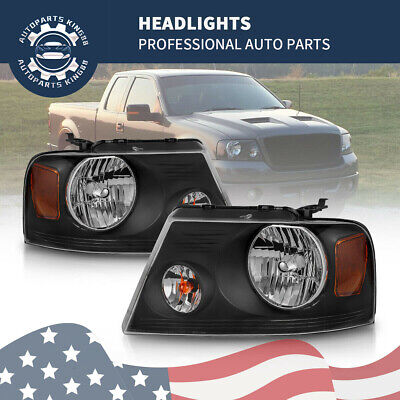 $67.91 • Buy Pair Black Headlight Headlamp Amber Corner Reflector For 04-08 Ford F-150 F150