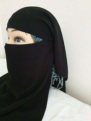Double Layer Niqab Face Veil With Tie Back • 6.99£