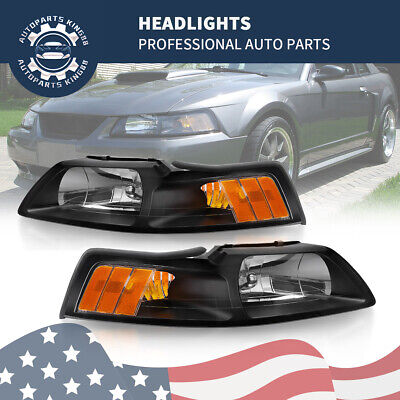 $61.48 • Buy For 99-04 Ford Mustang Cobra Replacement Black Headlights Amber Corner Headlamp