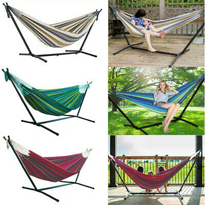 Double Premium Garden Hammock With Sturdy Steel Folding Stand Hanging Chair Seat • 69.95£
