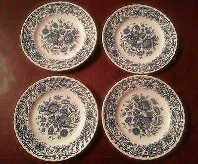 4 X Ridgway Ironstone  CLIFTON   Blue & White Floral 6.25  SIDE Plates • 8£