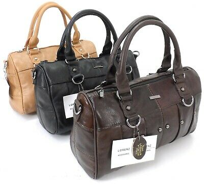 Ladies Women Lorenz Cowhide Real Leather Tote Barrel Shoulder Bag Handbag Purse • 16.99£