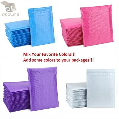 $8.95 • Buy Mix Your Color 50 Poly Bubble Shipping Envelopes Mailers #000 Extra Wide 4  X 8