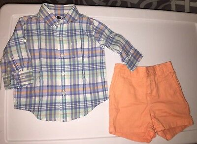 ccb0525ac JANIE AND JACK BABY BOY OUTFIT- Plaid SHIRT 3-6 Mo & Twill SHORTS
