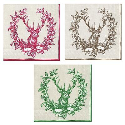 Country Deer Wreath Paper Napkins Christmas Lunch Party Disposable Serviettes • 6.45£