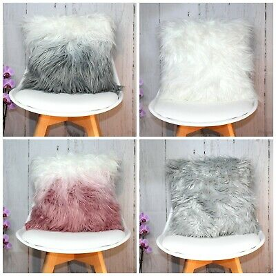 £10.95 • Buy Soft Faux Fur Mongolian Shaggy Filled Scatter Cushion Designer Ombre Glitter